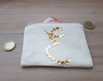 clutch purse, organizer bag, custom, letter E