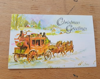 Small Vintage Christmas greetings card, brand new. 1970s, Christmas Greetings, horse drawn carriage