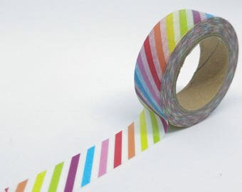 Washi Tape geometric pattern stripes diagonal multicolored 10Mx15mm