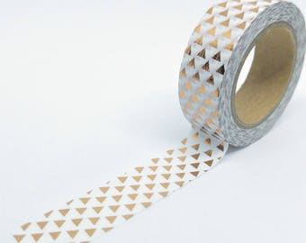 Washi Tape shiny copper 10Mx15mm white triangles