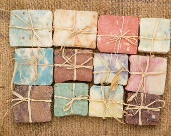 10 Rustic Homemade, Vegan Bar Soap  | Coconut Oil, Aromatherapy Soap | Shea Butter, Vegan Soap | No Waste, Plant-based Soap | Party Favor