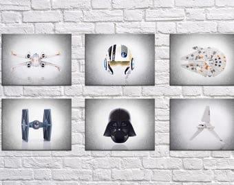 Set of 6 Star Wars wall prints, Star Wars , boys room decor, kids room decor, Star wars prints, Star wars decor, Star wars Art, star wars