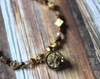 Crystal Beaded Bracelet, Golden Stone Boho Bracelet, Gold Beaded Bracelet