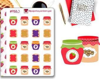 PB&J Stickers - Peanut Butter and Jelly Planner Stickers - PB and J- Planner Stickers