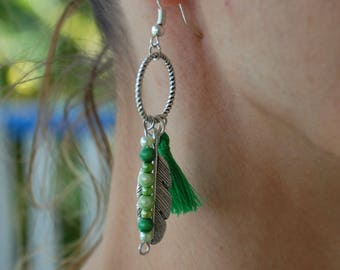 Earrings feather, tassel, pearls, green, silver, nickel free