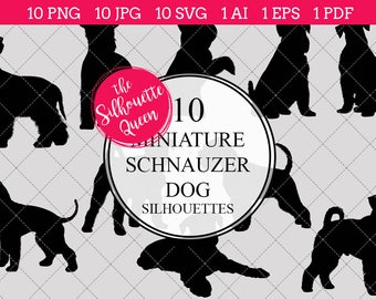 Miniature Schnauzer Dog Silhouettes Clipart Clip Art (AI, EPS, SVGs, JPGs, PNGs, PDF) , Clipart Vectors - Commercial and Personal Use