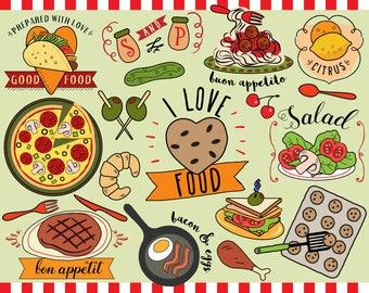 I Love Food Clipart Vector Clip Art Planner Sticker