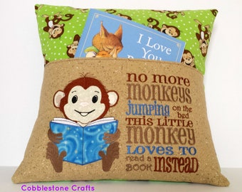 Monkey Reading Pocket Pillow, Reading Pillow, Pocket Pillow, No More Monkeys Jumping on the bed