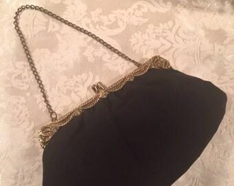 Vintage Black Evening Bag Purse Clutch with Gold Filigree Design 1950s