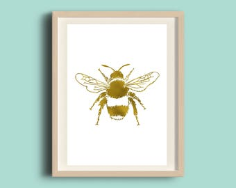 Foiled Bee Print, Handmade, A4 Print, Gold Silver Copper, Wall Art, Desk Decor, Manchester Bee
