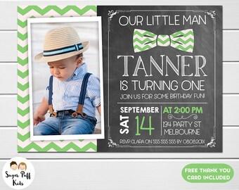 Little man birthday invitation, Little gentleman birthday invitation, Little man chevron birthday invite, Little man 1st birthday invitation