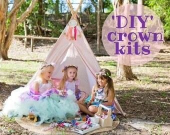 10 diy flower crown kit headband garland party favour girls princess fairy floral tiara craft