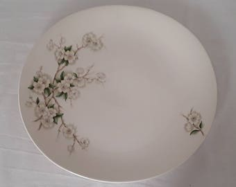 """One """"Apple Blossom"""" serving plate by Clarice Cliff for Royal Staffordshire of England."""