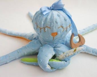 Sensory toy octopus Nautical nursery Cute plushe light blue Baby  pink octopus Cuddly stuffed octopus nursery art with wooden teething