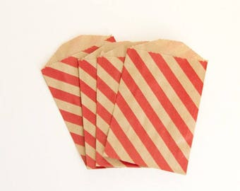 Small Diagonal Striped Party Treat Bags - Red on Kraft Paper