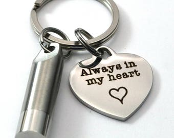 Personalized Memorial Cremation Key Chain - Stainless Steel - Customized Heart - Sympathy Remembrance Gift - Ashes Holder