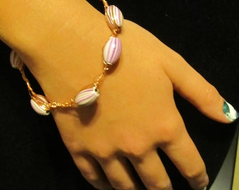 """8"""" Glass Bead and Copper Bangle"""