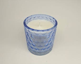 Handmade, Sweet Pea Scented, Soy Wax Candle in a Blue Glass Jar