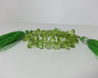 Natural Peridot Briolette Beads Strand, Peridot Briolettes, Green Briolettes, Peridot Pears, Peridot Teardrop Beads, Peridot Facted Beads