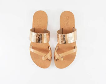 Carissa Rose Gold - Handcrafted Leather Sandals
