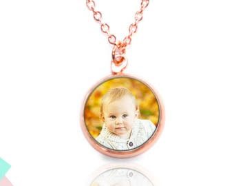 Rose gilded necklace with own photo   Cabochon