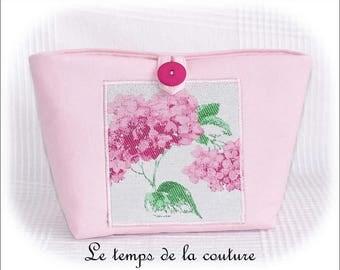 Bag clutch Organizer bellows - shades of beige, pink and green - handmade.