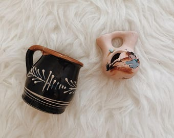 Set of two vintage ceramic vases | vintage Mexican ceramic vases | ceramic vessels | boho vases | boho vessels | bohemian decor | bohemian