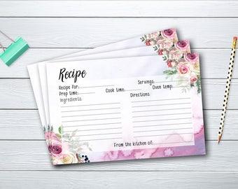 Recipe Card Bridal Shower Floral Printable Games Boho Flowers Pink Background Wedding Card Instant Download - BG001
