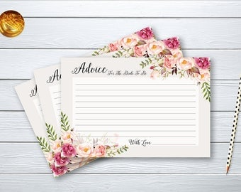 Advice Card Bridal Shower Floral Printable Games Peach and Pink Peonies Boho flowers Wedding Card Instant Download BG-022