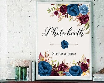 Photo booth Wedding Sign Digital Floral Blue Burgundy Peonies Wedding Boho Printable Bridal Decor Gifts Poster Sign 5x7 and 8x10 - WS-024