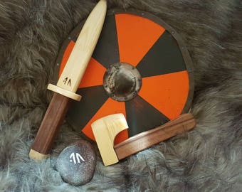 Mini Vikings toy shield with axe or sword
