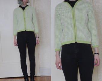 1960s cardigan // vintage green cardigan