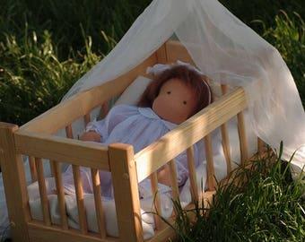Waldorf Doll Cradle, Wooden Doll Crib, Handmade Doll Bed, Canopy Doll Bed, Wooden Rocking Cradle, Miniature Rocking Crib, Waldorf Toys