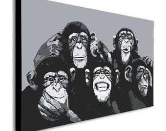 Monkey Chimps Family Selfie Canvas Wall Art Print - Various Sizes