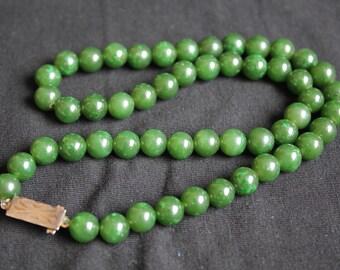 Antique Chinese Silver Jade Jadeite Beads Necklace