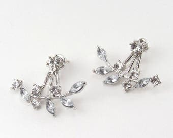 Crystal Ear Jacket Earrings Rhinestone Ear Jackets Silver Leaves Vine Leaf Front Backs Clear Crystal Ear Crawler