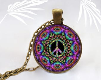 Medallion peace and love, girl, geometry, handmade Locket necklace