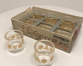 PYREX Compatibles BUTTERFLY GOLD 6 Napkin Rings in box New Old stock 1970s Mid Century Modern Kitchen ware glassware Entertaining