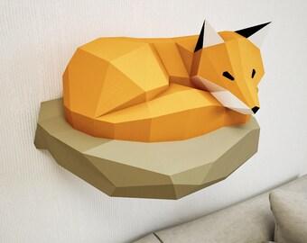 Papercraft Fox on rock, paper model, 3d paper craft, paper sculpture PDF template, low poly animals papercraft, wall home decor pepakura kit