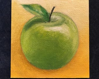 Green Apple Painting on Mini Canvas Magnet Panel 2 3/4 x 2 3/4 by Zata Palange