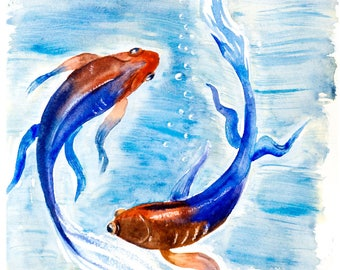 Koi fish print etsy for Koi fish art print