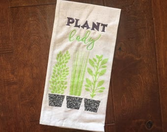 Plant Lady //  Embroidered Plant Kitchen Towel