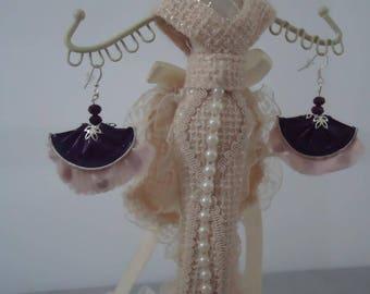 Purple aluminum fan earrings