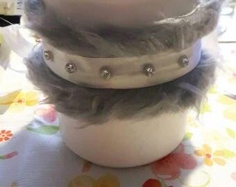 Choker + 2 Bracelets with Grey Fur