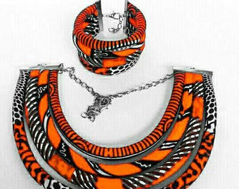 African print multi strand necklace and bracelet
