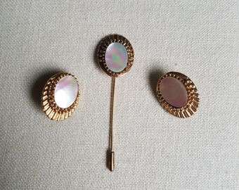 Signed Florenza MOP stick pin and clip earrings