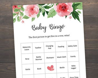 40 Prefilled Baby Bingo Cards, Baby Shower Games, Floral Bingo Cards, Baby Bingo Prefilled Cards, Printable Baby Shower, Bingo Cards, S017