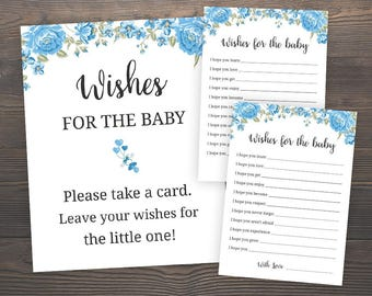 Wishes for the Baby, Printable Baby Shower, Baby Shower Games, Boy Baby Shower, Floral Baby Shower, Blue Baby Shower, Baby Wishes Card, S001