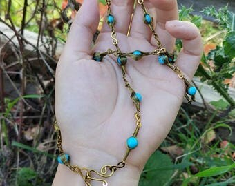 wire wrapped beaded necklace and bracelet