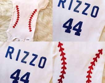 Baseball Stitches Onesie, Custom Name and Number on Back, Baseball Baby, Custom Onesie, Chicago Cubs, Cubs Onesie